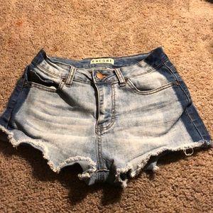 Size 5 denim shorts with dark denim sides